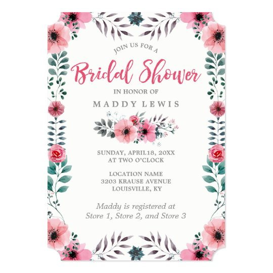 Elegant Floral Watercolor Poppies Bridal Shower Card