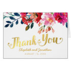 Elegant Floral Watercolor White Gold Thank You