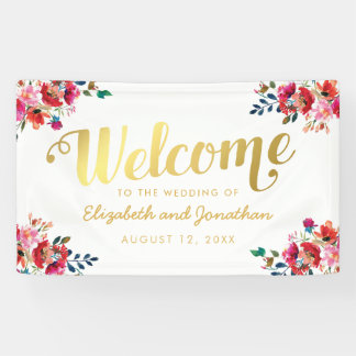 Elegant Floral Watercolor White Gold Wedding Banner