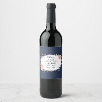 Elegant Floral Wedding Collection Wine Label