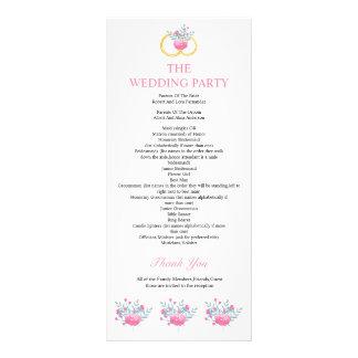 Elegant Floral Wedding Program Full Color Rack Card