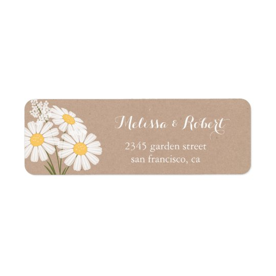 Elegant Floral White Daisies Bouquet Wedding Return Address Label