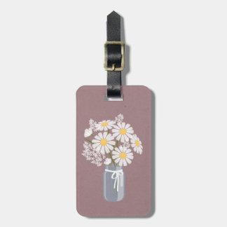 Elegant Floral White Daisies Mason Jar Luggage Tag