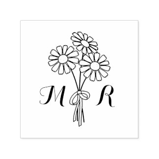 Elegant Floral White Daisies Monogram Wedding Self-inking Stamp