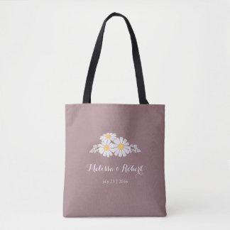 Elegant Floral White Daisies Wedding Favor Tote Bag