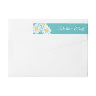 Elegant Floral White Daisies Wedding Wrap Around Label