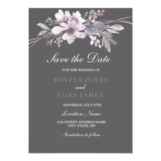 Elegant Floral Winter Grey Save The Date Card