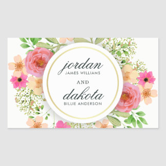 Elegant Floral Wreath | Modern Typography Wedding Sticker