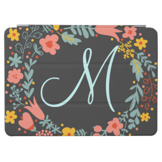 Elegant Floral Wreath Monogram iPad Air Cover