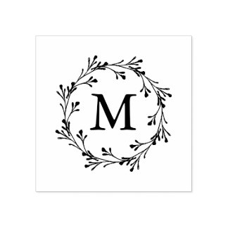 Elegant Floral Wreath Monogram Rubber Stamp