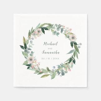 Elegant Floral Wreath Wedding Napkins Paper Napkins