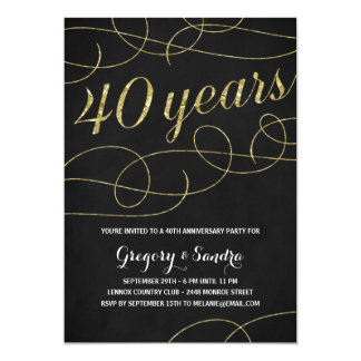 "Elegant Flourish | Faux Gold Foil 40th Anniversary 5"" X 7"" Invitation Card"