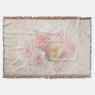 Elegant Flower Bouquet Vintage Throw Blanket
