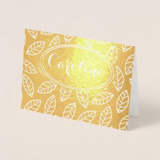 Elegant Flower Leaf Monogram Bridesmaid Thank You Foil Card
