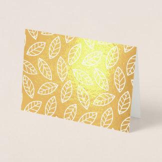 Elegant Flower Leaf Wedding Thank You Foil Card