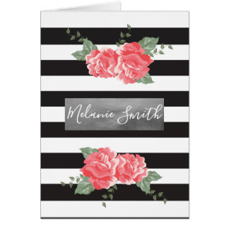 Elegant Flowers and Silver Card