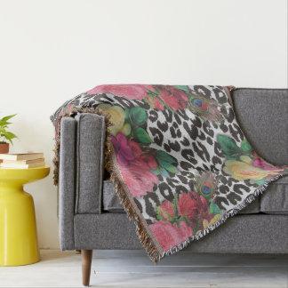 elegant flowers floral cheetah throw blanket