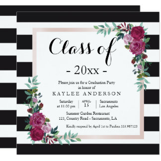 Elegant flowers Graduation Party invitation