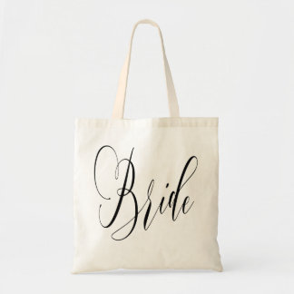ELEGANT FLOWING BLACK SCRIPT BRIDE DESIGN TOTE BAG