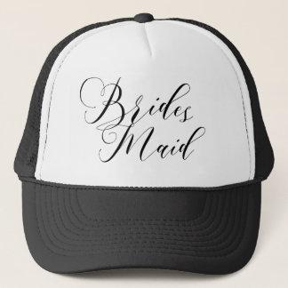 ELEGANT FLOWING BLACK SCRIPT BRIDESMAID TRUCKER HAT