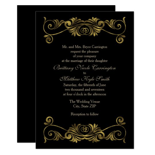 Elegant Formal Black and Gold Wedding Card