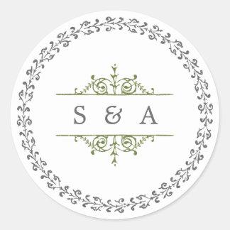 Elegant formal classic vintage wedding monogram round sticker