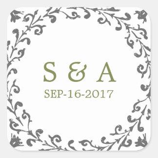 Elegant formal classic vintage wedding monogram square sticker
