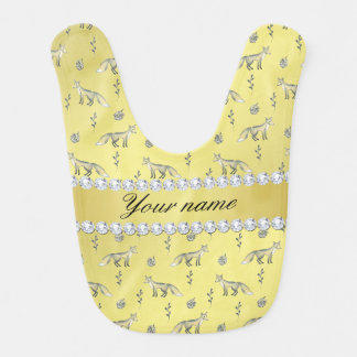 Elegant Fox Faux Gold Foil Bling Diamonds Bibs