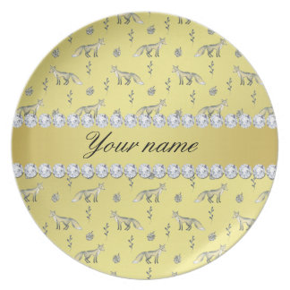 Elegant Fox Faux Gold Foil Bling Diamonds Dinner Plate