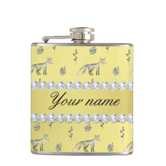 Elegant Fox Faux Gold Foil Bling Diamonds Hip Flask