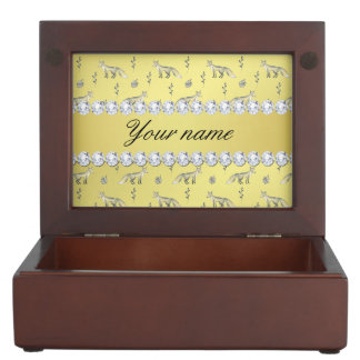 Elegant Fox Faux Gold Foil Bling Diamonds Keepsake Box