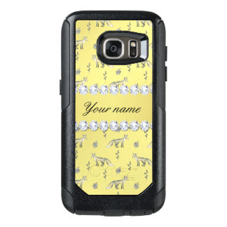 Elegant Fox Faux Gold Foil Bling Diamonds OtterBox Samsung Galaxy S7 Case