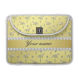 Elegant Fox Faux Gold Foil Bling Diamonds Sleeve For MacBooks