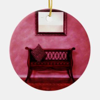 Elegant Foyer Settee Seat Mirror Interior Design Ceramic Ornament