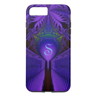 Elegant Fractal Lace Blue and Purple Monogrammed iPhone 7 Plus Case