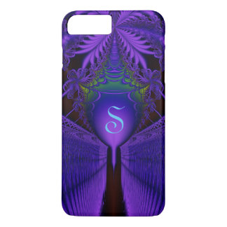 Elegant Fractal Lace Blue and Purple Monogrammed iPhone 8 Plus/7 Plus Case