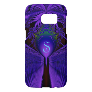 Elegant Fractal Lace Blue and Purple Monogrammed Samsung Galaxy S7 Case