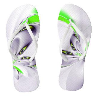 Elegant Fractal Touch of Green Flip Flops