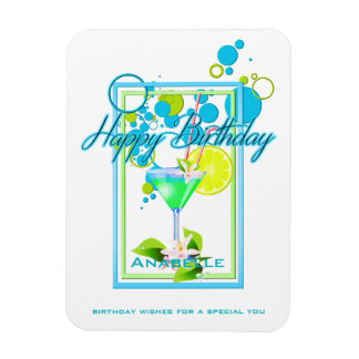 Elegant Frame Vivid Colors Birthday Cocktail Magnet