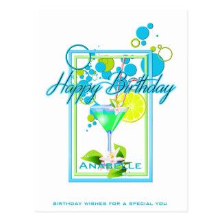 Elegant Frame Vivid Colors Birthday Cocktail Postcard
