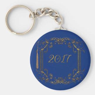 Elegant Frame with  Graduation Tassel and 2017 Basic Round Button Keychain