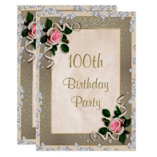 Elegant Framed Pink Roses 100th Birthday Card