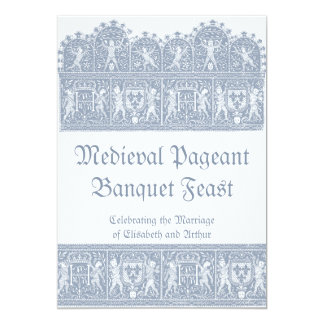 "Elegant French Blue Medieval Banquet Feast 5"" X 7"" Invitation Card"