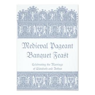 Elegant French Blue Medieval Banquet Feast Card