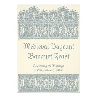 """Elegant French Blue Medieval Wedding Banquet 5"""" X 7"""" Invitation Card"""