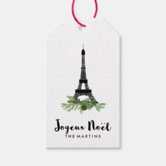 Elegant French Joyeux Noel with Eiffel Tower Gift Tags