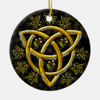 Elegant Frosted Gold Tri-Quatra on Gold Snowflakes Ceramic Ornament