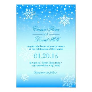 Elegant Frozen Winter Snowflakes Blue Wedding Card