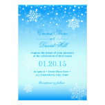 Elegant Frozen Winter Snowflakes Blue Wedding Custom Invitation