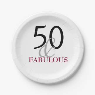 Elegant Fuchia 50th Birthday Party Paper Plate 7 Inch Paper Plate